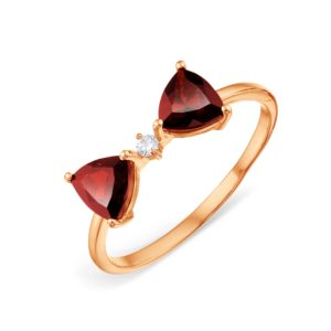 Кольцо из золота с Гранатами Бантик