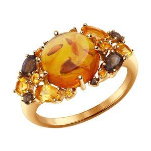 Кольцо из золота с Янтарём Раухтопазом и Цитрином