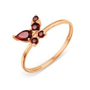 Кольцо из золота с Гранатом Бабочка