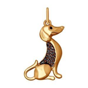 Подвеска из Красного золота с Фианитами Собака