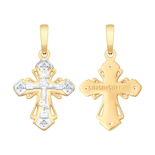 Крест из золота Комбинированный с фианитами