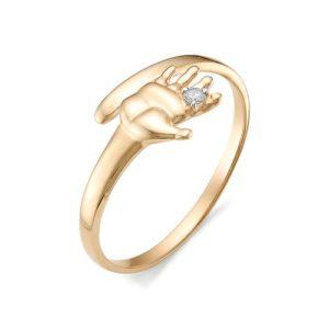 Кольцо из Красного золота с бриллиантом Ручка