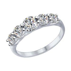Кольцо из Серебра с Кристаллами Сваровски