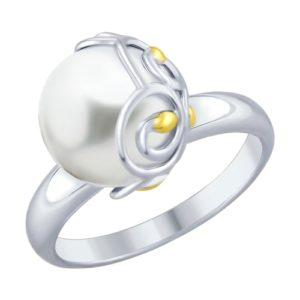 Кольцо из Серебра с Жемчугом иск.