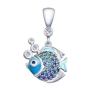 Подвеска из Серебра с Фианитами Рыбка