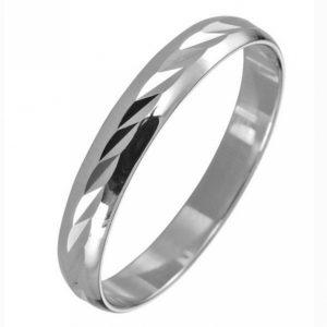 Кольцо обручальное из Белого золота с Алмазной гранью