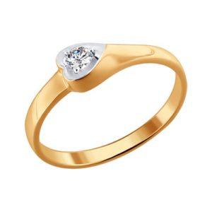 Кольцо помолвочное из Комбинированного золота с Бриллиантом