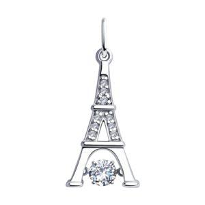 Подвеска из Серебра с танцующим фианитом Эйфелева башня