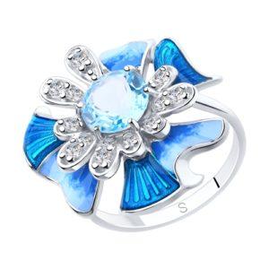 Кольцо из Серебра с Топазом, Эмалью и Фианитами