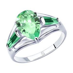 Кольцо из Серебра с зелёными фианитами