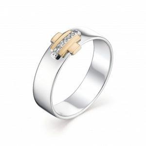 Кольцо из серебра и Золота с Бриллиантами