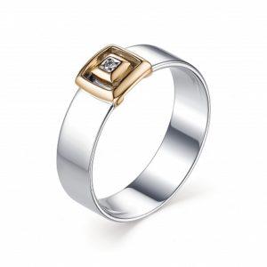 Кольцо из Серебра и Золота с Бриллиантом