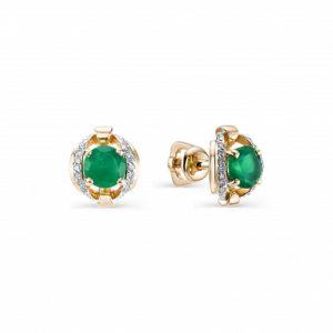 Серьги-пусеты из Красного золота с Бриллиантами и Зелёными агатами