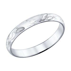 Кольцо обручальное из Серебра с Алмазной гранью