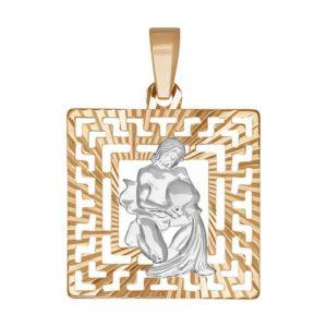 Подвеска Водолей из Комбинированного золота с алмазной гранью