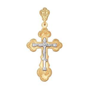 Подвеска Крест из Комбинированного золота