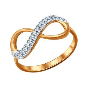 Кольцо Бесконечность из Золочёного серебра с Фианитами