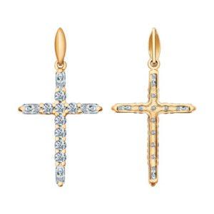 Подвеска Крест декоративный из Золочёного серебра с Фианитами