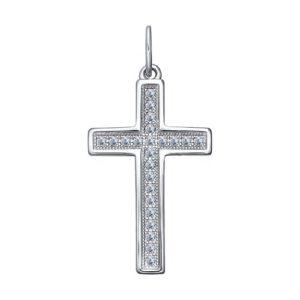 Подвеска Крест декоративный из Серебра с Фианитами