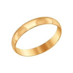 Кольцо обручальное гладкое из Красного золота