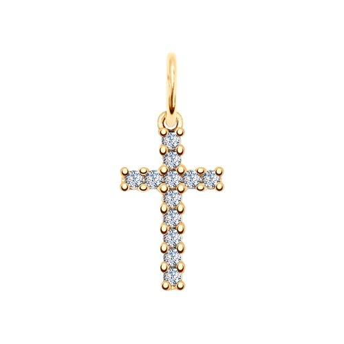 Крест декоративный из Золочёного серебра с фианитами