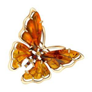 Брошь Бабочка из Красного золота с Янтарем