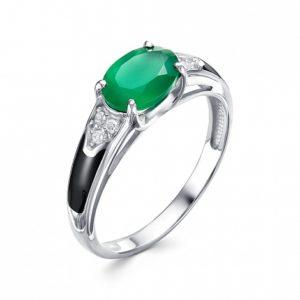 Кольцо из Серебра с зелёным агатом и Фианитами