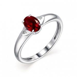 Кольцо из Серебра с Гранатом и Бриллиантами