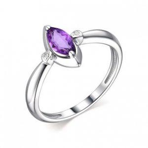 Кольцо из Серебра с Аметистом и Бриллиантами