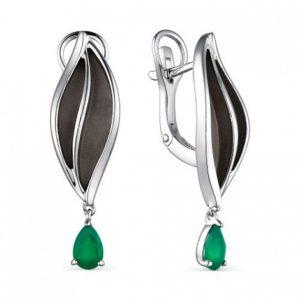 Серьги из Серебра с Зелёными агатами