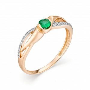 Кольцо из Красного золота с Изумрудом и Бриллиантами