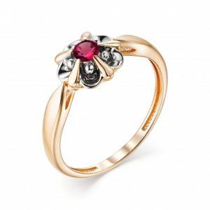 Кольцо из Красного золота с Рубином и Бриллиантами