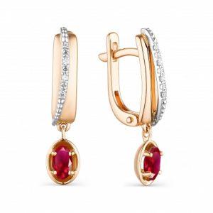 Серьги из Красного золота с Бриллиантами и Рубинами