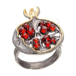Кольцо Гранат из Серебра с Кубическими цирконами