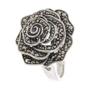 Кольцо Роза из Серебра с Марказитом