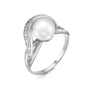Кольцо из Серебра с  Жемчугом с Фианитами