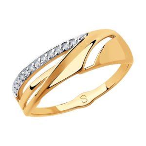 Кольцо из краснго золота с фианитами
