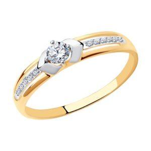 Кольцо из комбинированного золота с фианитами