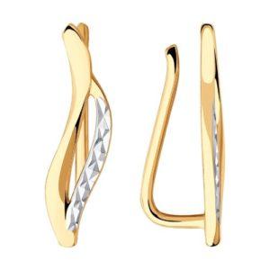 Серьги-каффы из Комбинированного золота с алмазной гранью