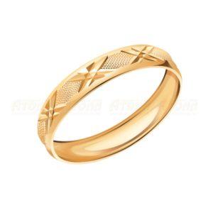 Кольцо обручальное из Красного золота с Алмазной гранью