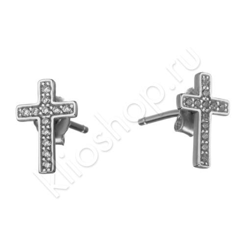 Серьги-пусеты Кресты из Серебра с фианитами