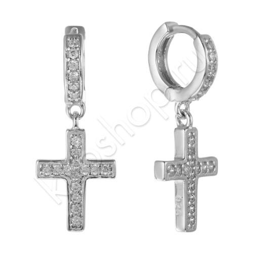 Серьги Кресты из Серебра с Фианитами
