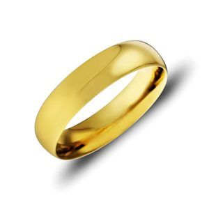 Кольцо обручальное гладкое из лимонного золота