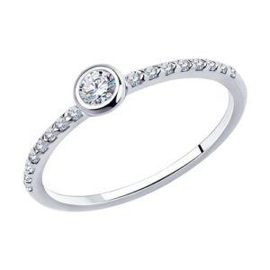 Кольцо помолвочное из Серебра с Фианитами