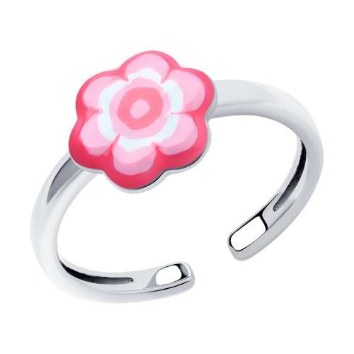 Кольцо детское из Серебра с эмалью Цветок