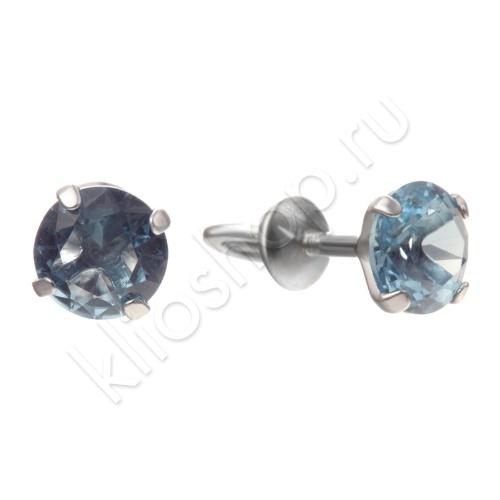 Серьги из Серебра с кристаллическим цирконием(голубой топаз)