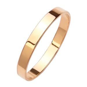 Кольцо обручальное Шайба тонкая из Красного золота