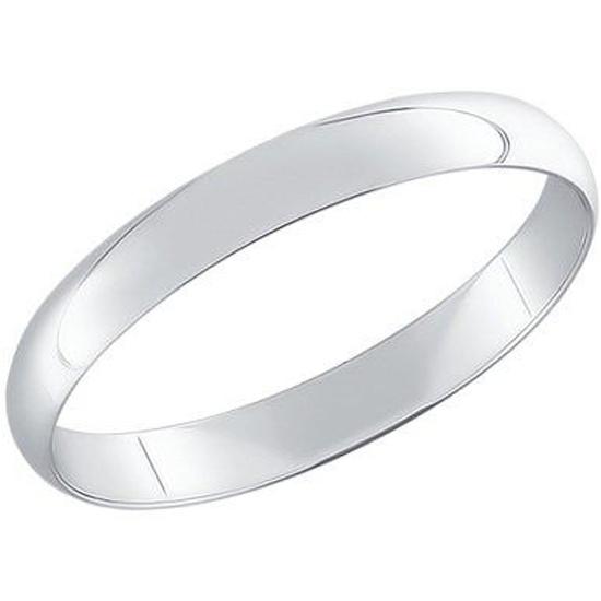 Кольцо обручальное гладкое из Белого золота 585*