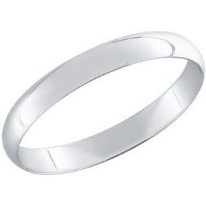 Кольцо обручальное гладкое из Белого золота